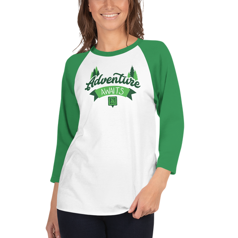 Adventure Awaits 3/4 Sleeve Unisex Raglan Shirt