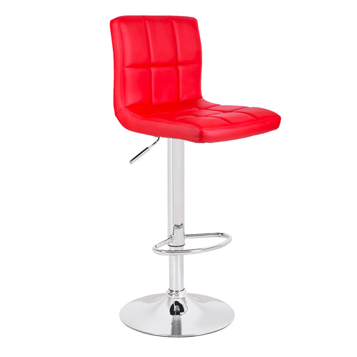 Clementine Leatherette Swivel Adjustable Height Bar Stool (Red)