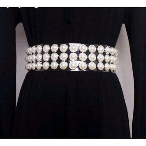 Wisteria Clear Pearl Buckle Belt