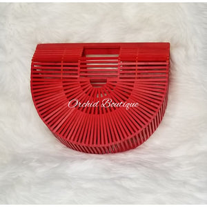 Bamboo Red Half Moon Bag - Orchid Boutique