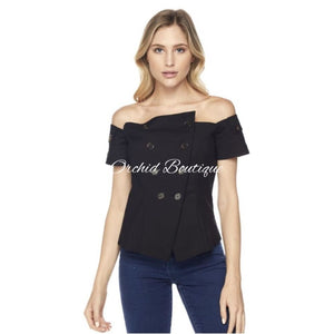 Heather Black Button Blouse - Orchid Boutique