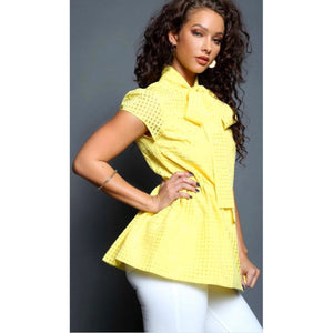 Nia Yellow Bow Blouse