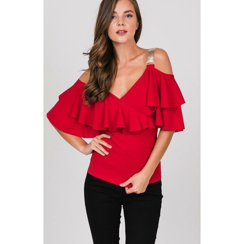 Logan Red Chain Strap Ruffle Blouse