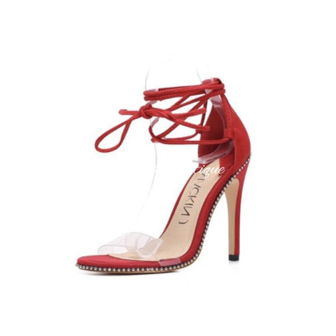 Lace me up Red Heels - Orchid Boutique