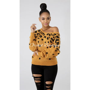 Mia Mustard Cheetah Sweater - Orchid Boutique
