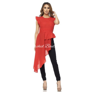 Tameka Red Asymmetric Blouse Blouse