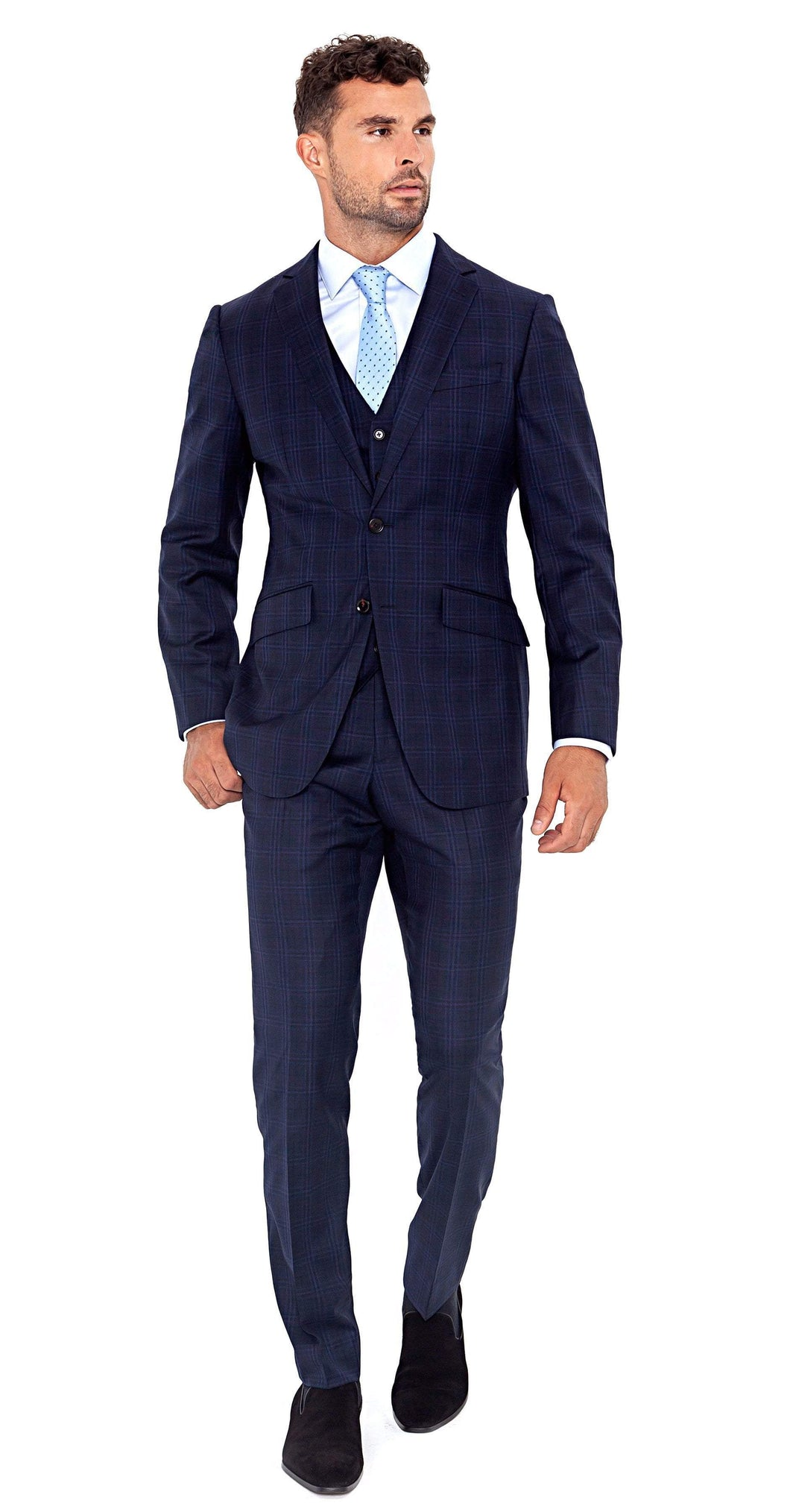 Four Seasons Super 130s 3-Piece Navy Plaid Suit - Enzo Custom