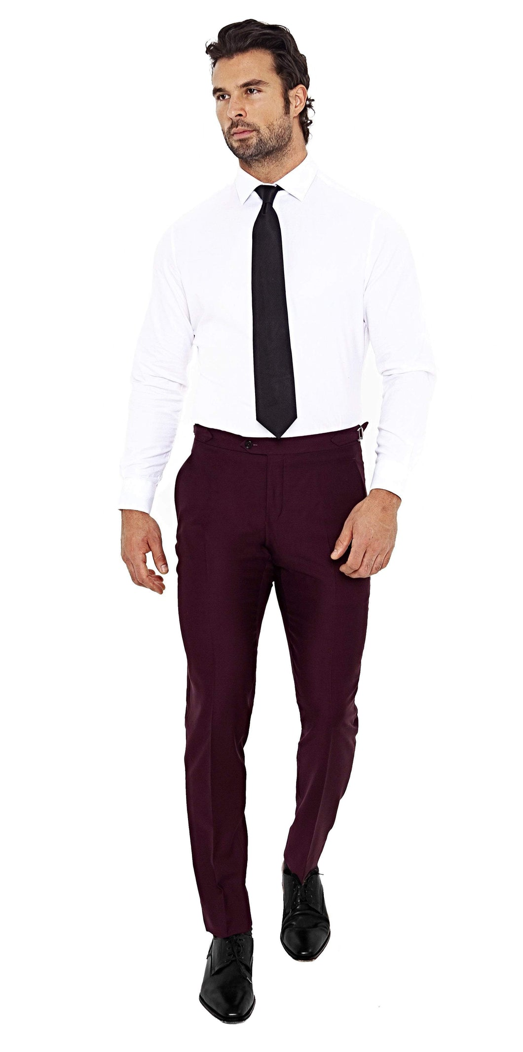 Enzo Custom Trousers Super 120s Burgundy Pant