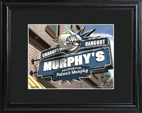 Personalized NFL Pub Sign w/Matted Frame - Chargers