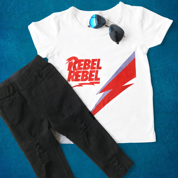 Kids distressed jeans, rebel rebel tshirt and sun glasses