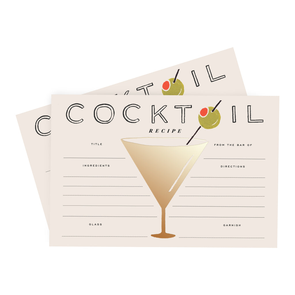 Pack of 12 Cocktail Recipe Cards