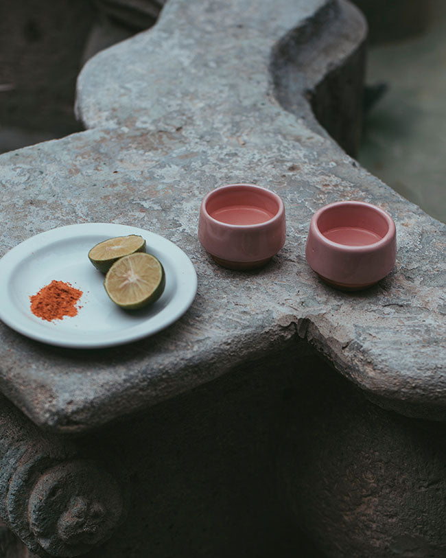 Pair of Mezcal Cups - Tulip Pink