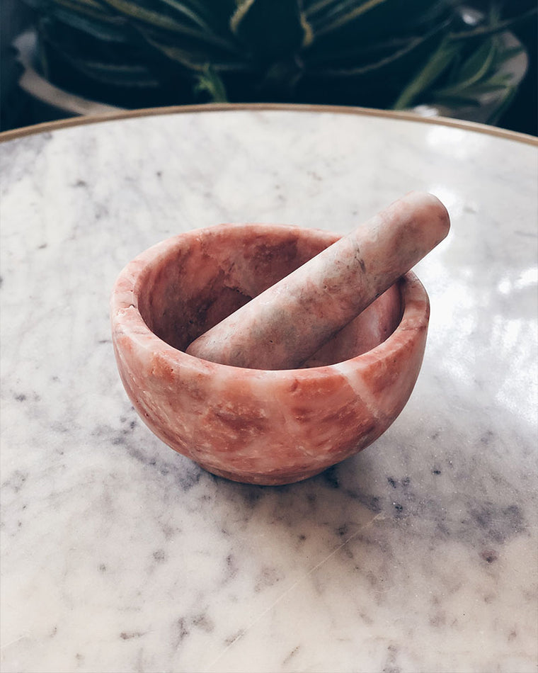 Mini Mortar + Pestle - pink marble