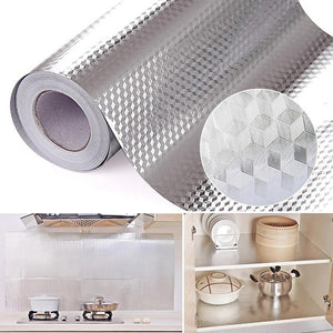 Waterproof Oil Proof Aluminum Foil Self Adhesive Wall Sticker (40cm x 100cm)