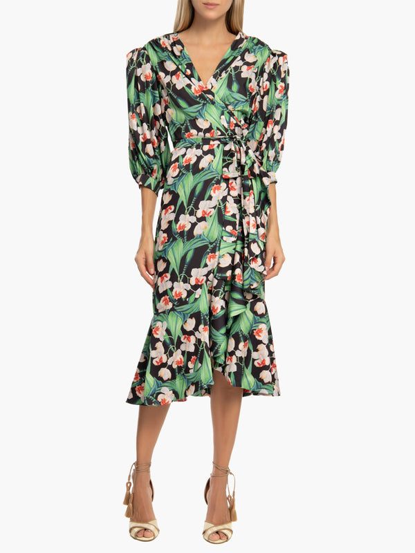 Floral Midi Wrap Dress | Black Floral Midi Wrap Dress | Black