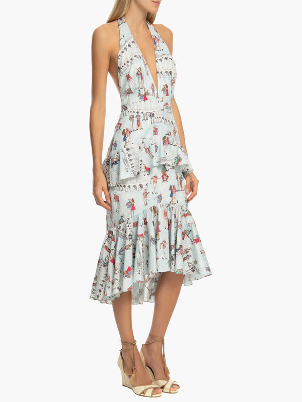 Printed Ruffle Halter Dress | Light Blue Printed Ruffle Halter Dress | Light Blue