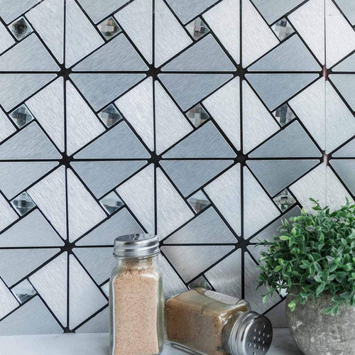 "12"" wide 10 pcs Brushed Silver Metal Mosaic Tiles Wall Panels"