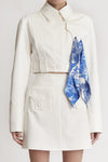 Everything Matters Cropped Jacket w Pouch Pocket White
