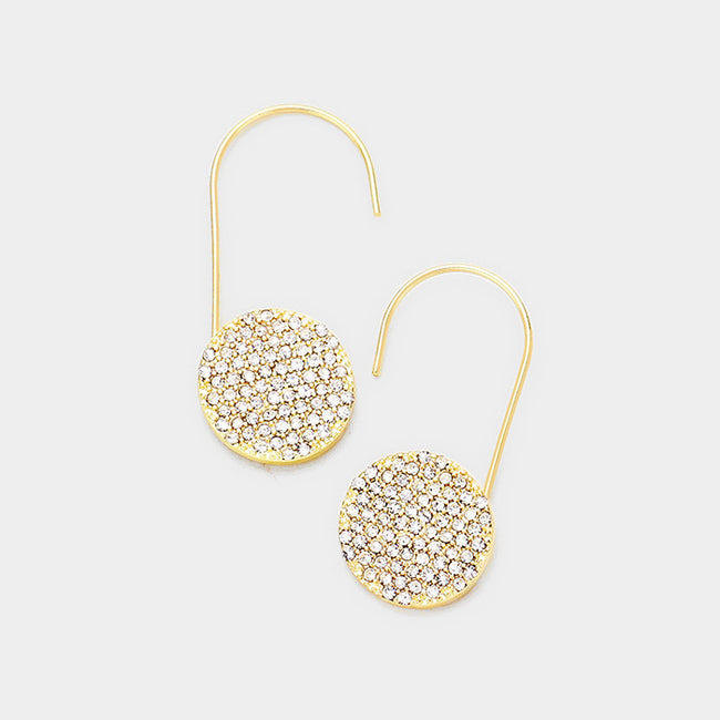 Crystal Rhinestone Pave Disc Accented Earrings