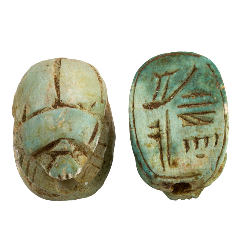 Carved steatite ancient Egyptian scarab bead replica with heiroglyphs. Avg. 34x22x18mm. Pkg. of 1. b2-439-3