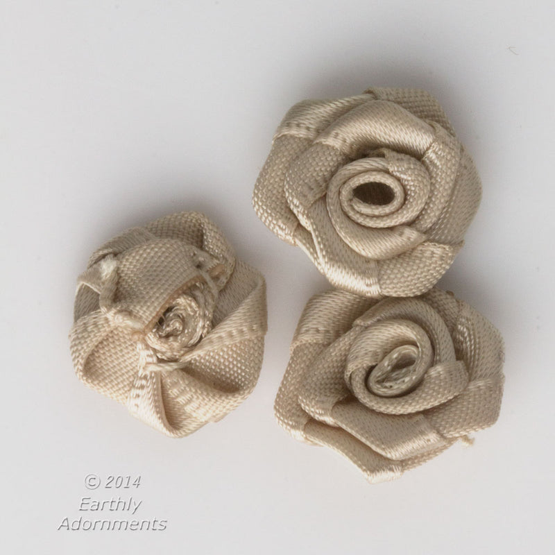 Vintage hand sewn satin roses, 14mm diameter, package of 10.
