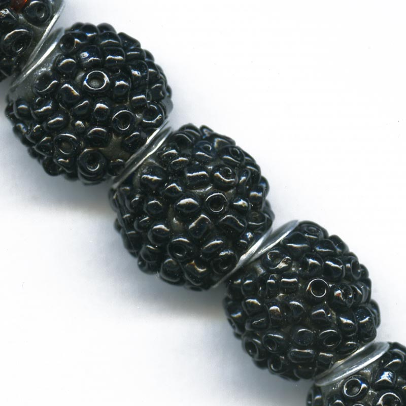Black glass beaded beads 14mm pkg of 2. b11-bw-0979