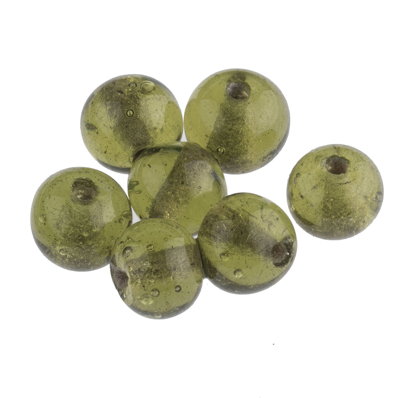 Antique Chinese translucent olive green Peking Glass beads 11-12mm. Pkg. of 6. b11-gr-2047