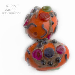 Vintage Indian persimmon and multicolor lampwork beads, 18x14, sold individually. b1-657(e)