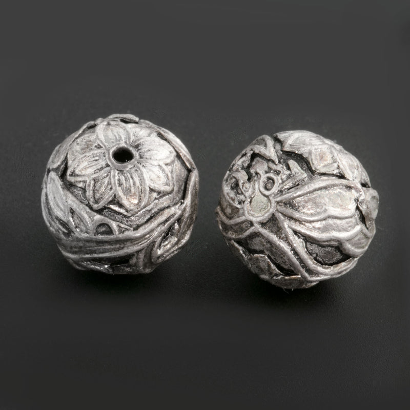 Chinese silver plated 10mm hollow bead dragonfly design. Sold individually. b18-643