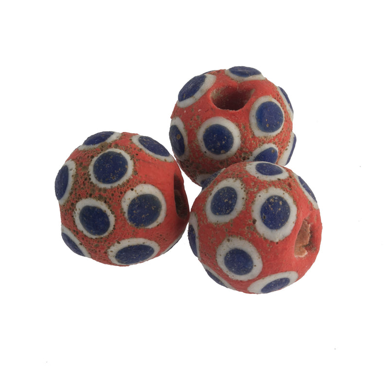 Ancient Mediterranean glass eye bead reproduction.  20mm. Pkg 1.  b1-890