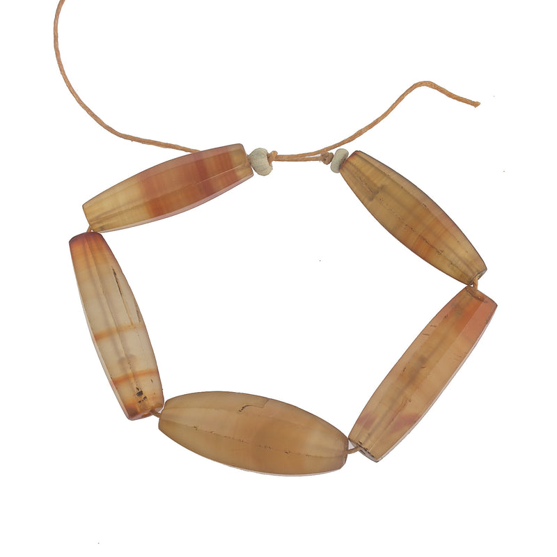 19th century faceted carnelian agate trade beads, cut in Germany, traded in Africa group of 5 beads. b4-car328