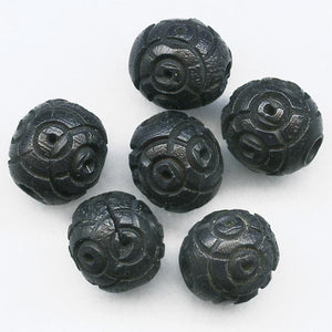 Antique French carved Corozzo beads 6mm pkg of 15. b7-wo248