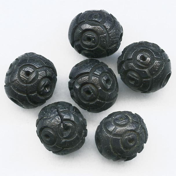 Antique French carved black Corozzo Tagua Palm beads. 8mm pkg of 10 b7-wo247