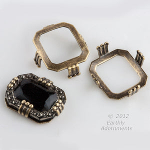 Oxidized brass cushion octagon fancy prong setting for 12x14mm stone. Package of 4. b9-2214