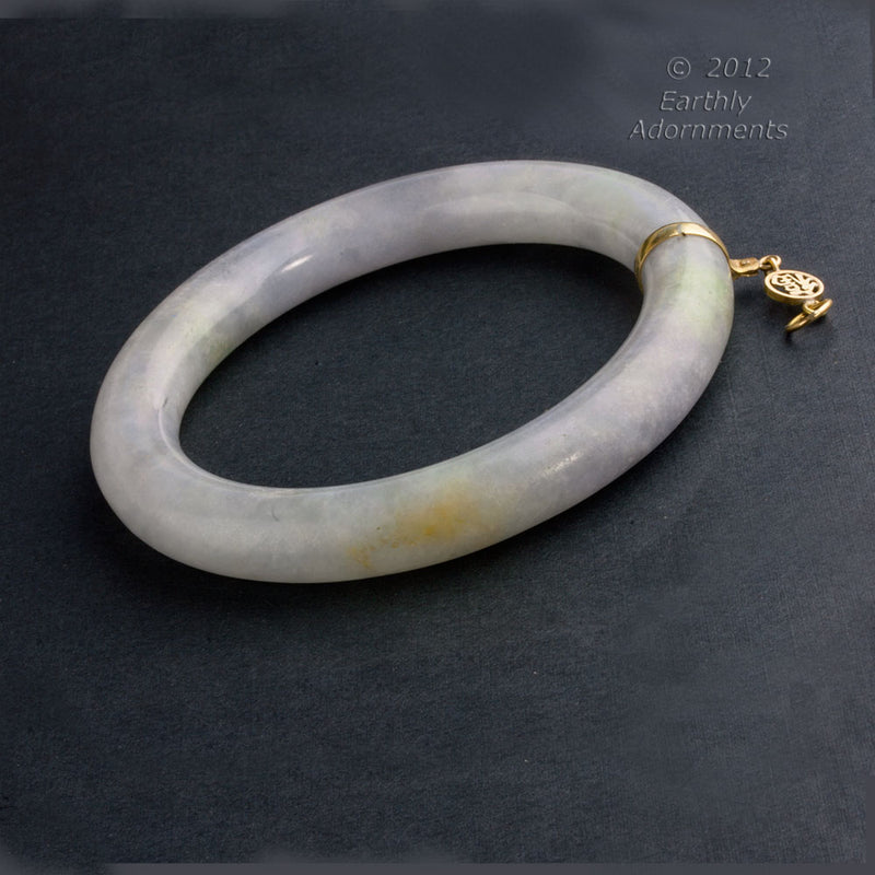 Vintage natural Burmese lavender and green semi-translucent jadeite rounded bangle. brja829