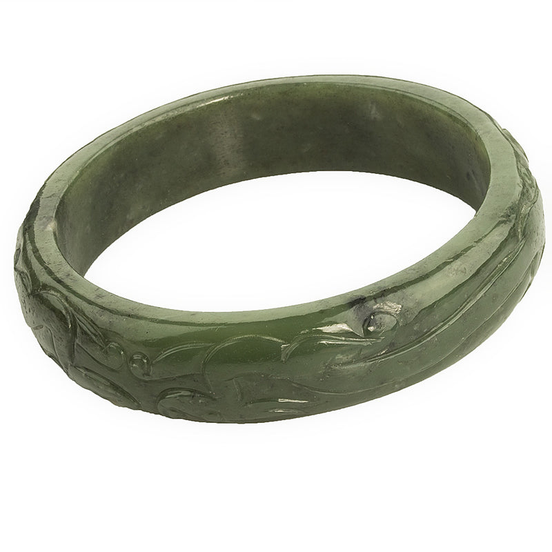brja836(e)- Vintage nephrite jade carved bangle.