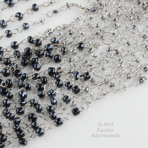 Czech bead chain of silver wire and 3mm black and clear glass