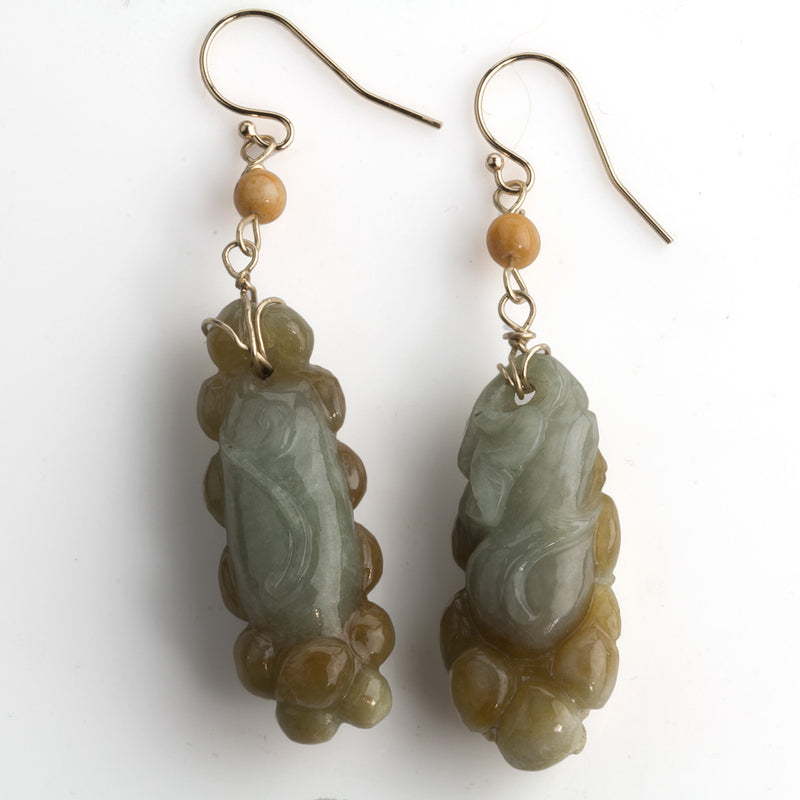 erja867-Vintage carved green and gold jade earrings w/14k yellow gold