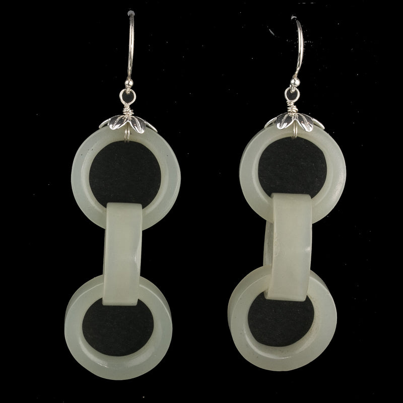 Earrings made of antique Chinese carved Nephrite jade Devils Work interlocking rings with sterling silver cap and wire. erja897