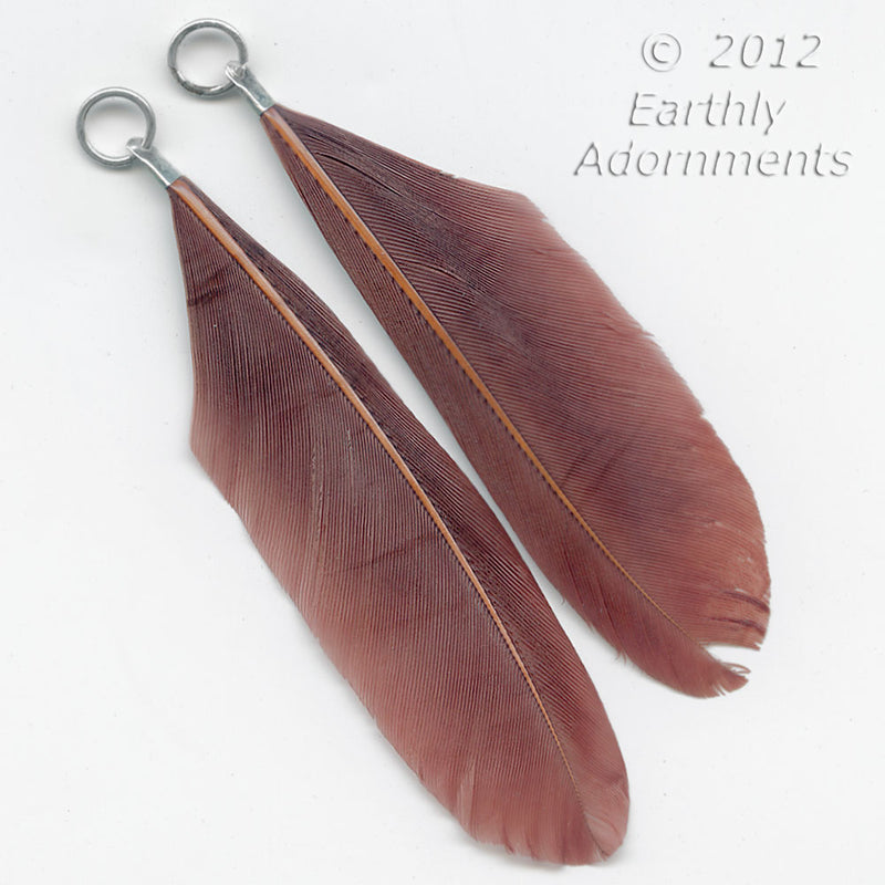 Vintage sienna brown feather pendant with silver crimp and jump. Sold in a pair. b10-0352