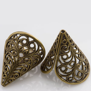 Vintage oxidized brass filigree cone 23x21mm 2 pcs. b9-2048-2(e)