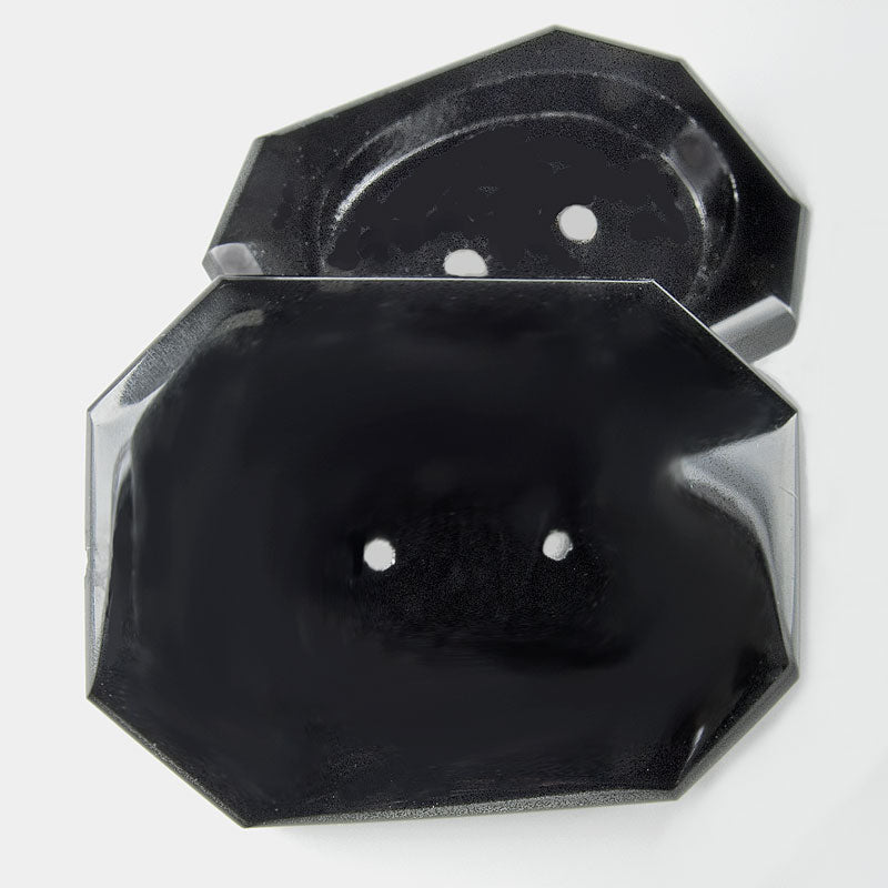 Vintage jet glass octagonal button setting for 28x20mm stone France 1920s 40x30mm pkg of 1. b5-689(e)