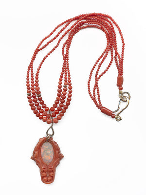 nlja851-Rare Mediterranean salmon coral carving with an oval opal cabochon on the reverse, 14k rose gold metal work and a triple strand of coral beads