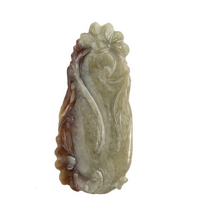 pdja704(e)-Vintage carved green and rust red jadeite pendant in shape of a gourd