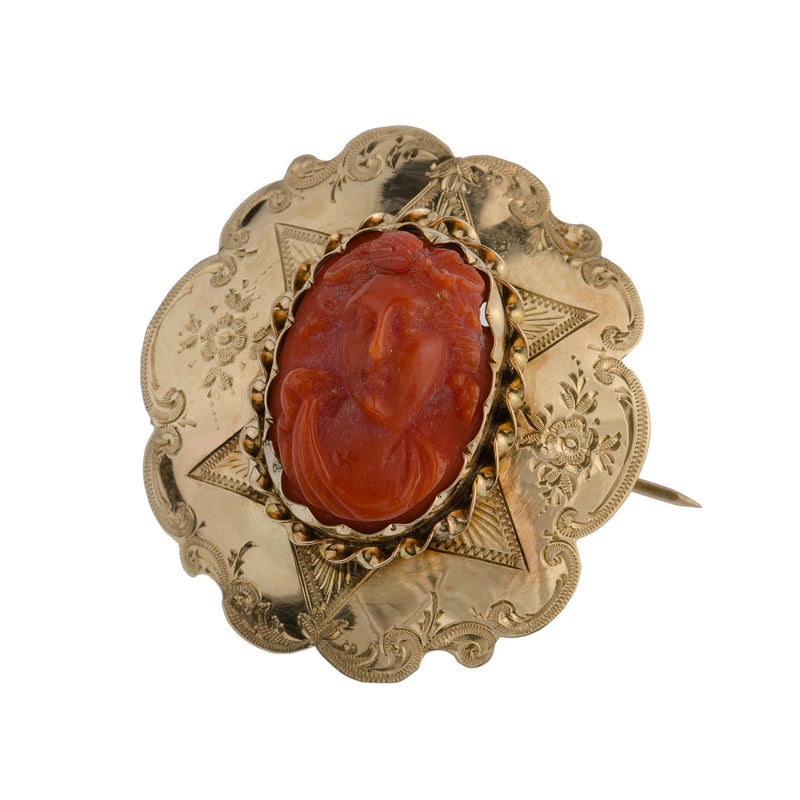 Antique Victorian carved Mediterranean  coral cameo brooch 15k solid gold setting.  pnvc1081