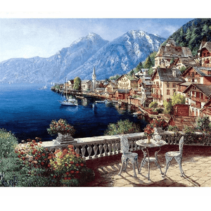 Balcony View of HallstÇÏtter See Lake in Austria - Paint by Numbers Kit