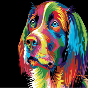Colorful Cocker Spaniel Dog - Paint by Numbers Kit