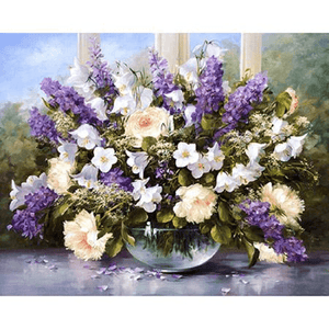 Lavenders with Pink and White Flowers - Paint by Numbers Kit
