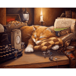 Sleeping Cat With Playful Mice - Paint by Numbers Kit