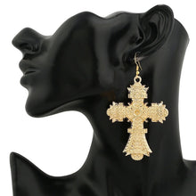 Gold cross statement earrings